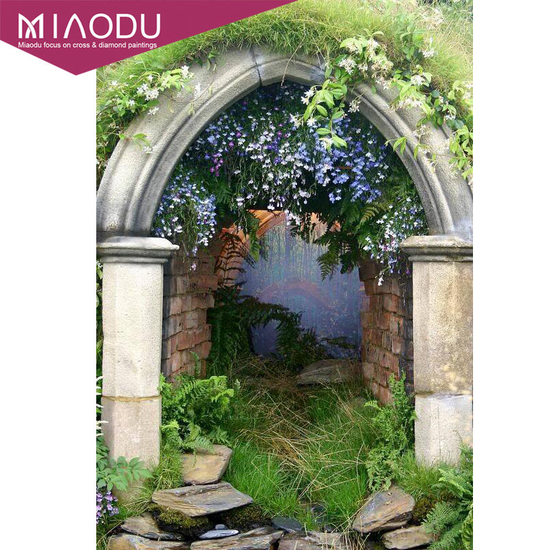 US $3 64 35% OFF|Miaodu 5D DIY Kit Diamond Painting Garden Of Spring Cross  Stitch 3D Diamond Embroidery Landscape Painting Mosaic Picture Decor-in