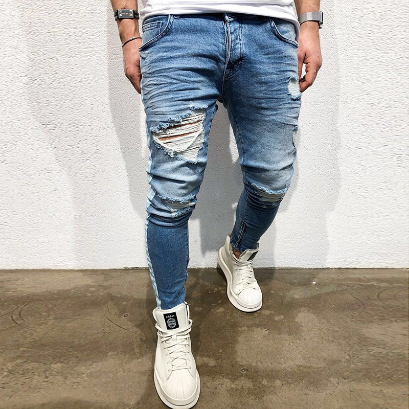 Men Jeans Slim Fit Skinny Denim Jeans Stretch Elastic Waist Hip Hop Classic Blue Quality Trousers Non-Ripped Pants