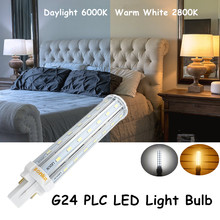 Bombillas LED G24 2-Pin Base Corn Light Bulb 110V 220V 13W G24 PLC Lamp Horizontal Plug Light with 30W CFL Replacement(China)