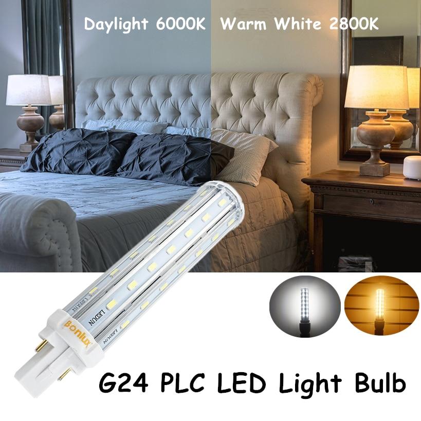 Bombillas LED G24 2-Pin Base Corn Light Bulb 110V 220V 13W G24 PLC Lamp Horizontal Plug Light with 30W CFL Replacement