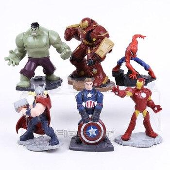 남북 전쟁 복수 자 캡틴 아메리카 헐크 아이언 맨 토르 spierman hulkbuster pvc figure collectible model toys 6 개/대 7 ~ 10 cm