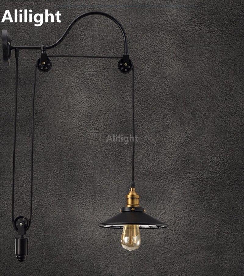 retractable lighting fixtures. vintage iron lift wall lamp american style retractable pulley light lighting club bar home indoor fixtures c