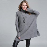 High Quality Super Loose Long Sweater Women Long Sleeve Knitted Pullovers Sweater For Woman Turtleneck Female