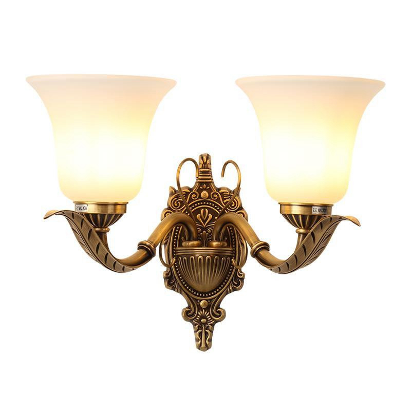 European 2 arm LED copper wall lamp American living room Bjornled wall light bedside lamp bedroom bedside luxurious 3W LED lamp