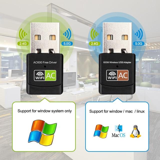 USB WiFi Adapter USB Ethernet WiFi Dongle 600Mbps 5Ghz Lan USB Wi-Fi Adapter PC Antena Wi Fi Receiver AC Wireless Network Card 5