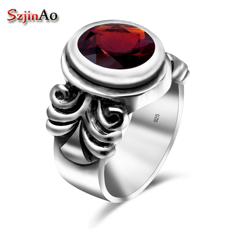 Szjinao Tibetan Soild 925 Sterling Silver Rings Charms Garnet Vintage Style Engagement Jewelry Knuckle Ring Weapon Bijoux Femme