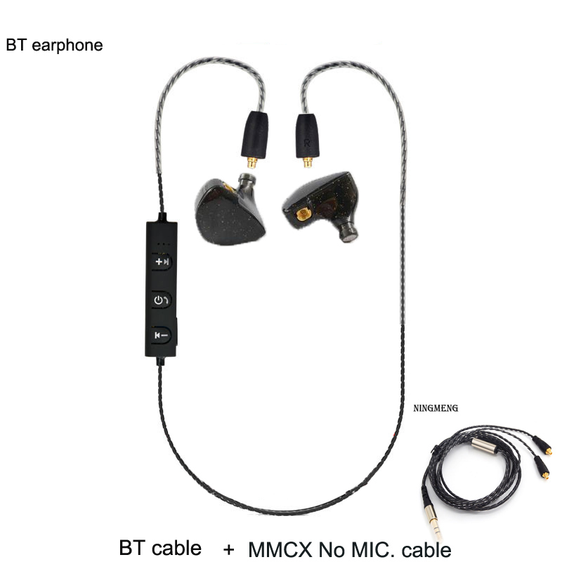 IZK newest PZ UE6 Wireless Bluetooth 4.1 earphone with MMCX Cable Support  Use For SE846 se215 se535 with microphone