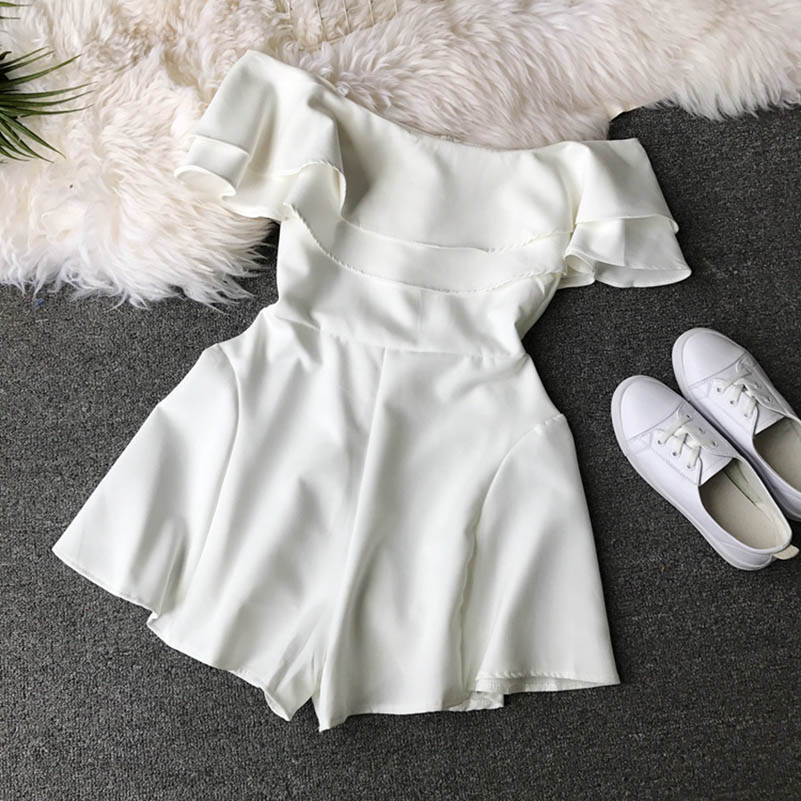 HTB1mMOucgaH3KVjSZFjq6AFWpXai - Candy Color Elegant Jumpsuit Women Summer Latest Style Double Ruffles Slash Neck Rompers Womens Jumpsuit Short Playsuit