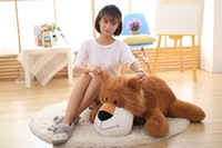 new big plush lying lion toy creative lovely dark browm lion pillow gift about 90cm