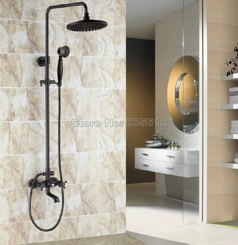 Black Oil Rubbed Bronze Wall Mounted Bathroom Luxury Rain Shower Faucet Set with Dual Handles Bathtub Mixer Taps Wrs381