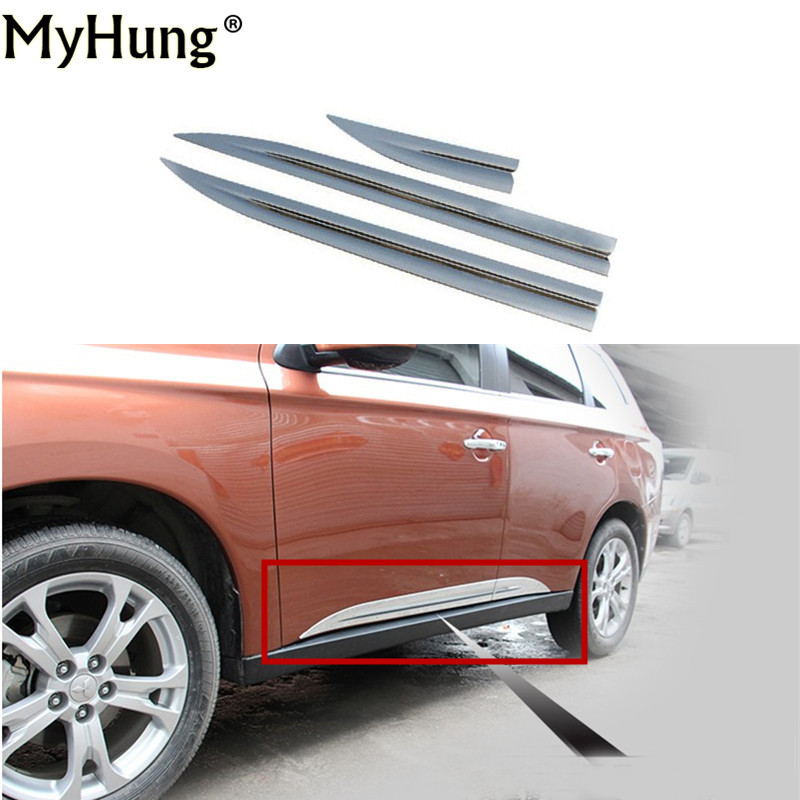 Car-Styling Car Accessories Side Door Modling Trim Door Body Trim For Mitsubishi Outlander 2013 2014 Abs Chrome 4Pcs