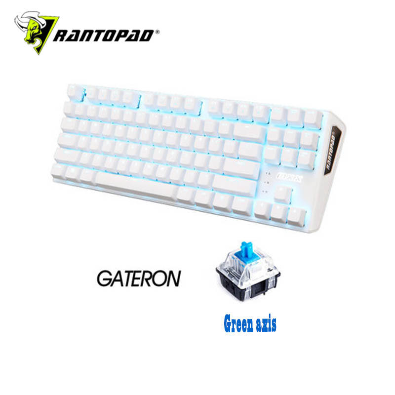 Rantopad MXX white luxury 87-key USB wired backlit mechanical gaming keyboard ABS two-color plastic keycap N key flip plum 21 key numpad electrostatic capacitive mechanical keyboard 45g keypad pbt keycap numeric pad wired programmable number pad