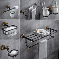 All copper black gold bath towel rack furniture rack european style black copper wire drawing bathroom hardware hook suit