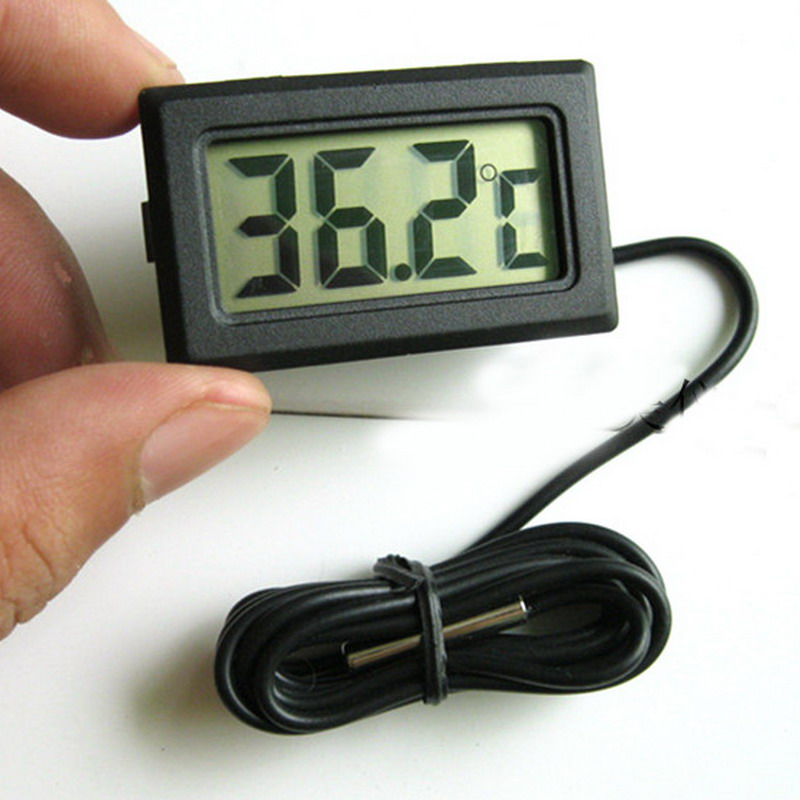 LCD Digital Thermometer Hygrometer Temperature Meter Gauge With Clock New Weather Station