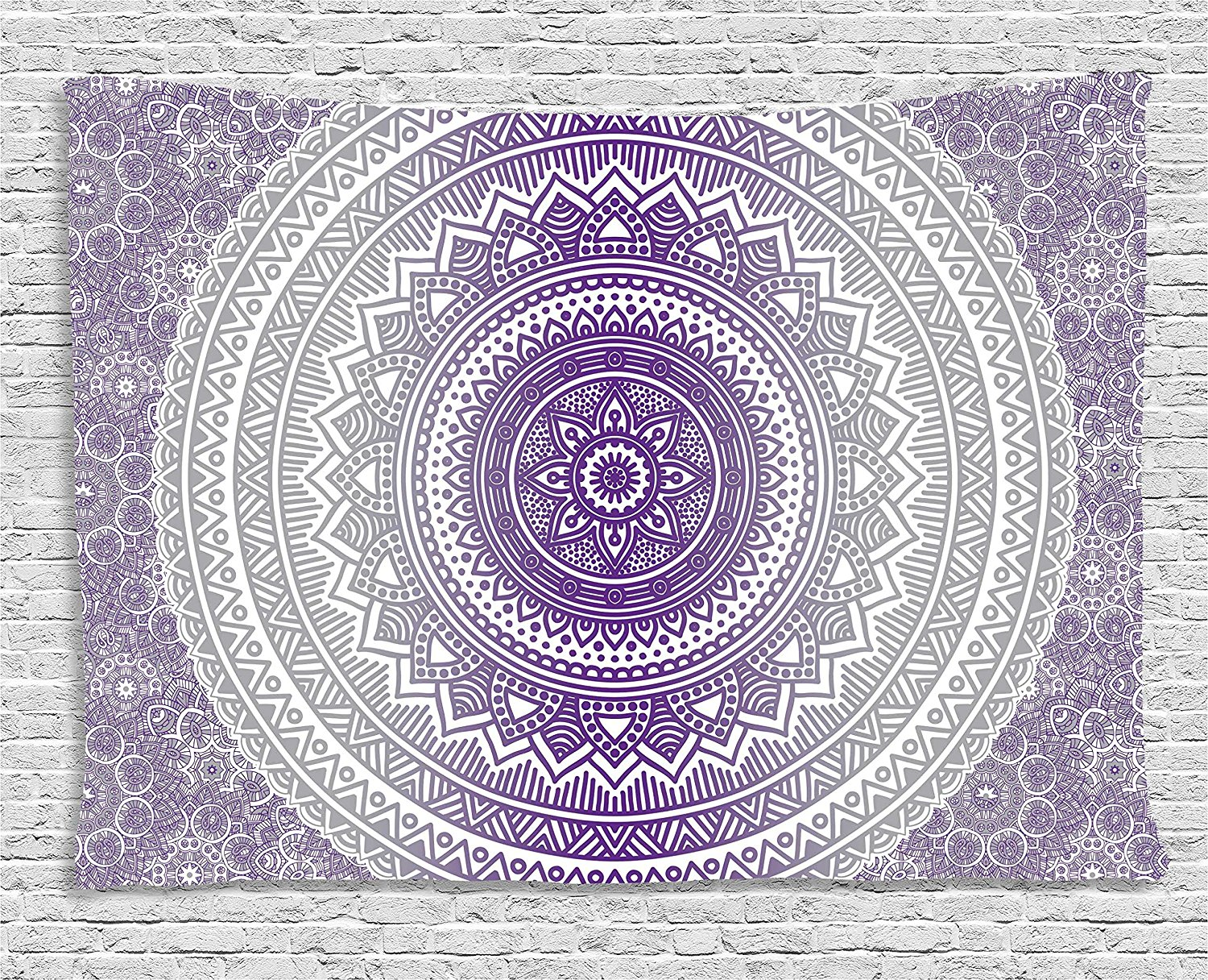 Grey and Purple Tapestry, Eastern Traditional of Cosmos Pattern Zen Boho Ombre Mandala D ...