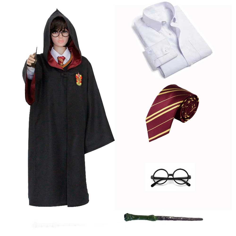 Kids Adult Magic Ravenclaw Hufflepuff Slytherin Gryffindor Robe Shirt Costume Haryi Potter Cosplay Halloween Costumes