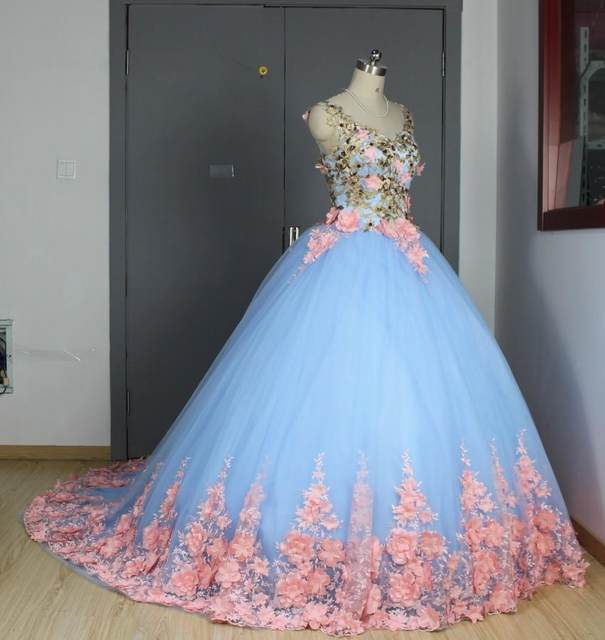 Online Shop Baby Blue 3D Floral Masquerade Ball Gowns 2017 Cathedral ...