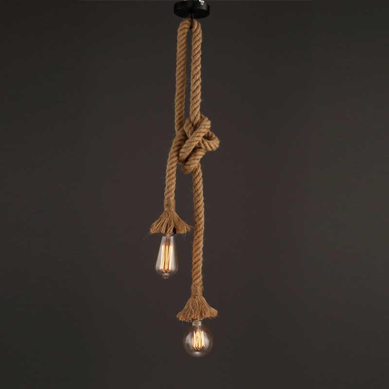 Винтаж Ретро пеньковая веревка люстра, подвесные светильники hanglamp lamparas de techo подвесной светильник Промышленный Настенный декор Светодиодная лампа Современная