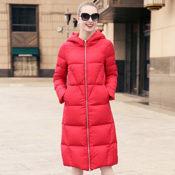 YNZZU High Quality Winter Jacket Women Korean Long Casual Duck Down Coat Plus Size Thick Warm Hooded Warm Outwears AO668