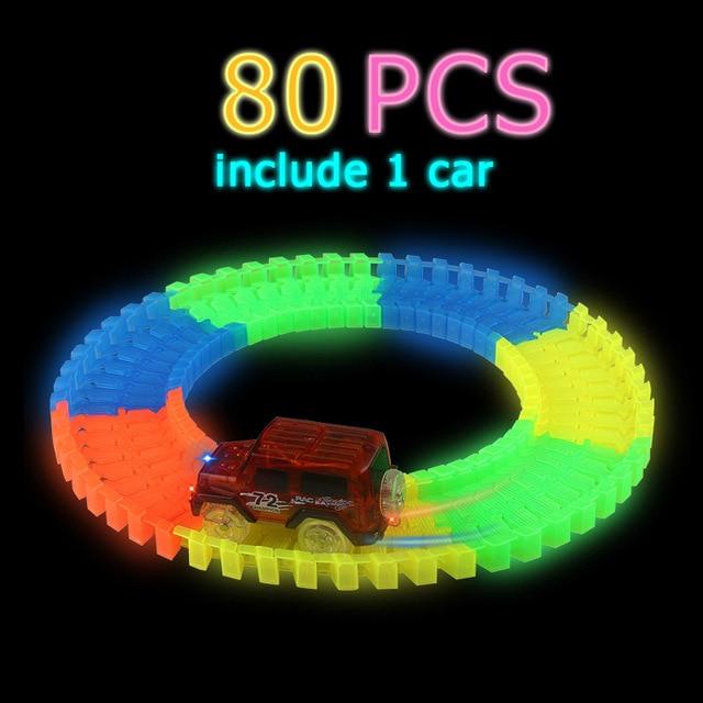 Светящийся гоночный трек изгиб Flex вспышка в темноте сборки гибкий игрушечных автомобилей/165/220/240 шт светящийся гоночный трек Набор DIY головоломки игрушки - Цвет: 80 pcs with 1car