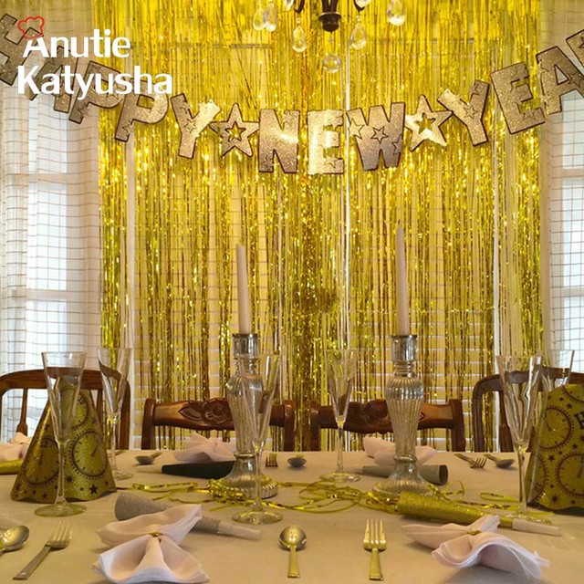 1Pc 1x2M Gold Silver Foil Tinsel Curtain Wedding Party Decoration Room Shiny Pub Stage Backdrop Photography