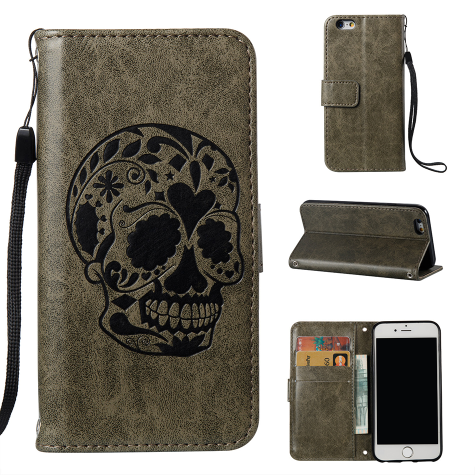 Skull Pattern PU Leather Wallet Flip Magnetic Case For Apple iPhone 5 5S SE 6 6S iPhone7 Plus Back Cover Funda Phone Bags B16