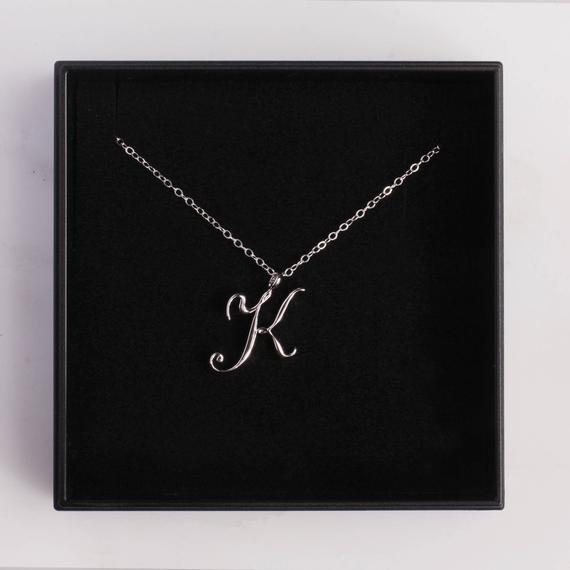 Small letter Label Simple Initial Logo alphabet K Necklace Name Symbol English Initials Letters Charm Pendant Jewelry