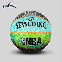 Original SPALDING Trend Collection Series Green/Basket/Grey Tricolor Room 7# External Rubber Men's Basketball 83 645Y