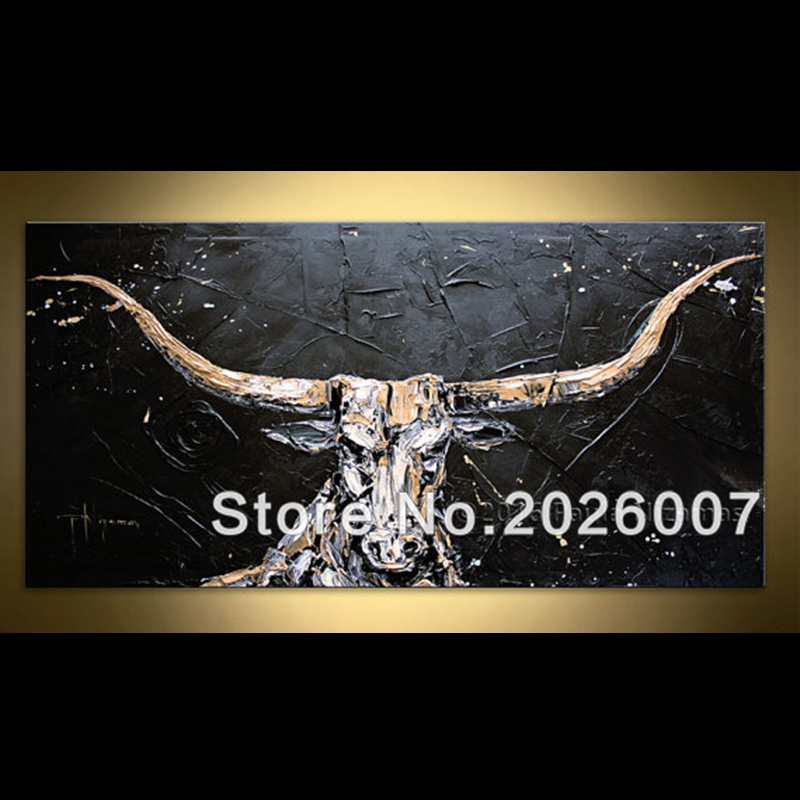 Hand Painted Black Golden White Bull Palette font b Knife b font Abstract Oil Painting On