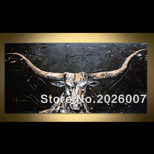 Hand Painted Black Golden White Bull Palette Knife Abstract Oil Painting On Canvas Modern Painting Decoration Living Room Wall