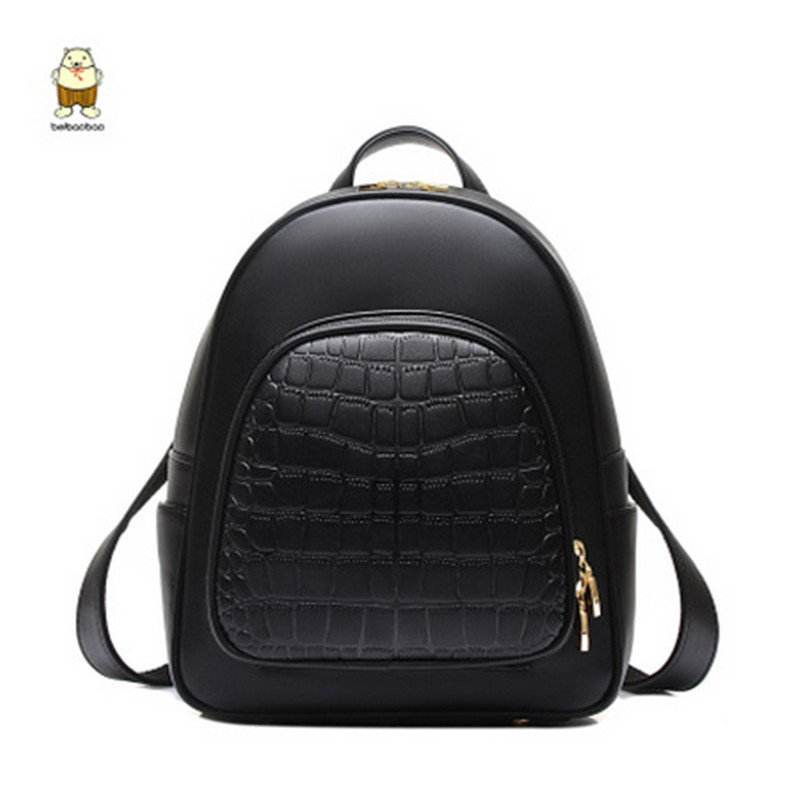 BEIBAOBAO high quality luxury candy color leather shoulder bag ladies crocodile pattern relief backpack Korean fashion