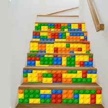 Colorful Toy Brick Pattern Stair Stickers Decals Kids Love Removable Waterproof Stairway Vinyl Stickers for Home Decor(China)