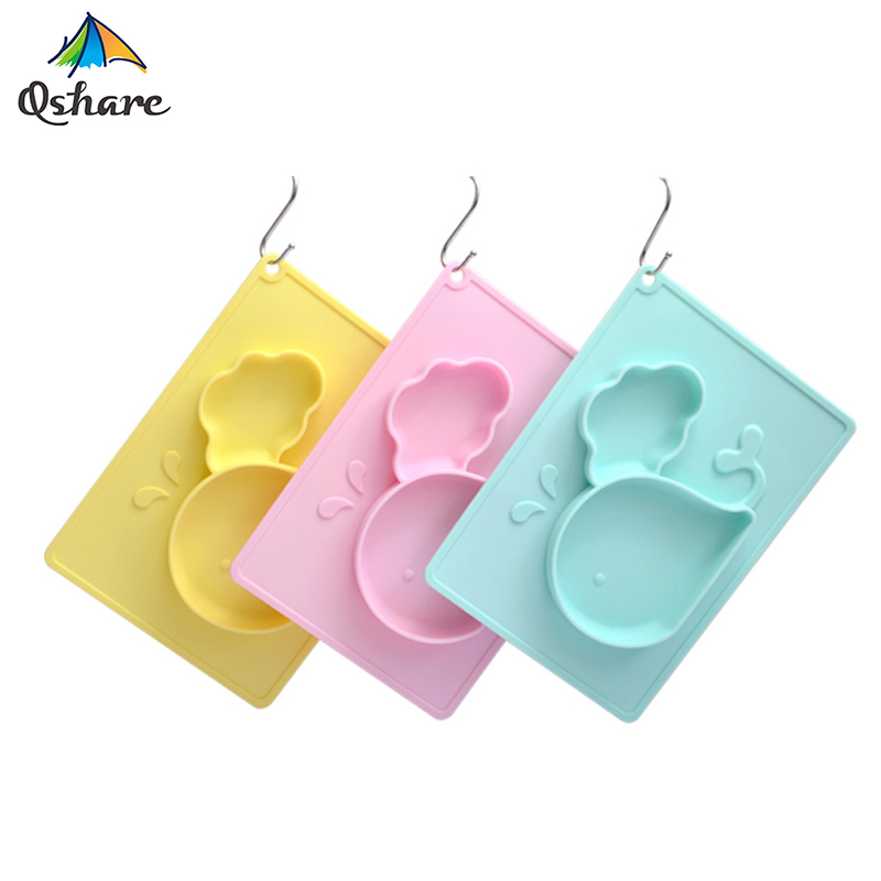 Qshare Baby Dishes Bowl Infant Toddler Feeding Plate Tray Food Dish Children Tableware Silicone Suction training placemat