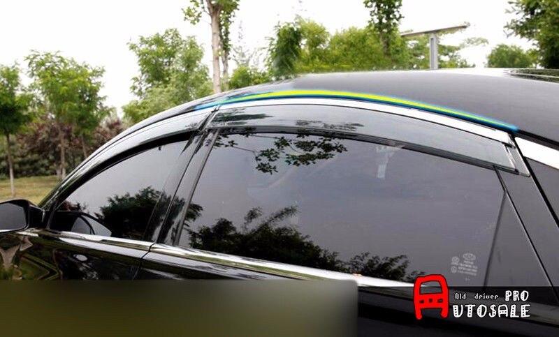 Car styling For Kia Optima K5 2016 2017 Full Set Window Vent Shade Visors Rain Guards Cover Trim 4pcs