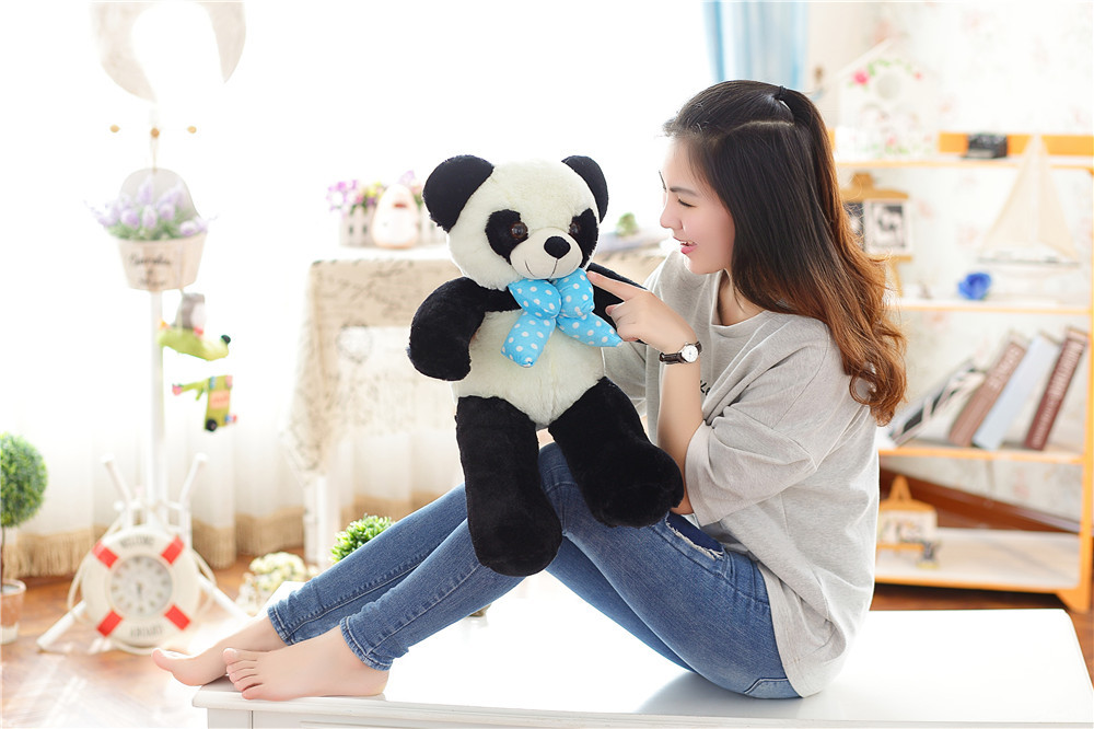 small cute plush blue bow panda toy lovely panda doll about 60cm 0393 60cm cute panda plush toy panda doll big size pillow birthday gift