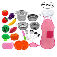 25 Pcs/set Simulated Kitchen Toy Mini Pretend Play Tools Children Kitchen With Stainless Steel Cooking Pots Pans Food Toys Kit
