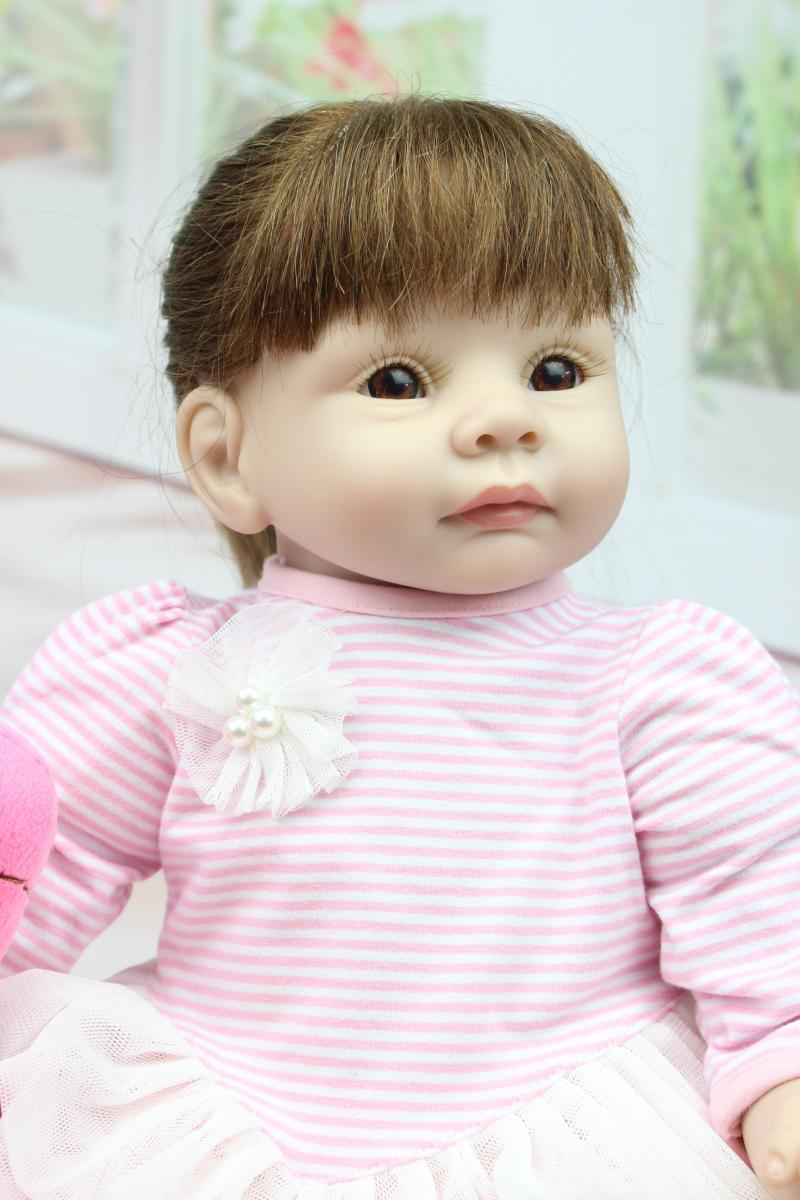 22 inches Vinyl reborn Babies Doll Soft Silicone vinyl hand-rooted Mohair Baby Dolls Realistic for Girls Birthday Gift