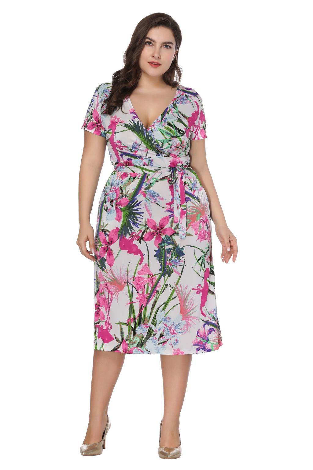 2018 Fashion Women Summer Short Sleeve Dress 6XL Plus Size Women Clothing V  Neck Floral Print Casual Dress Boho Beach Vestidos a3b3335c15a8