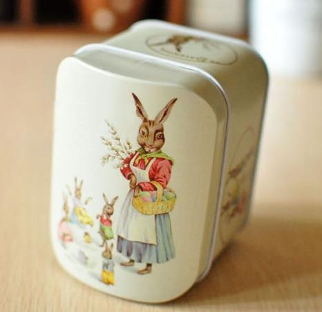 1PCS/LOT Cute rabbit retro European style coin bank  money boxes Tin storage box