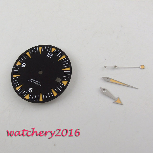 31mm שחור חיוג ספיר זכוכית אוטומטית שעון חיוג + ידיים עבור ETA 2824 2836 תנועה
