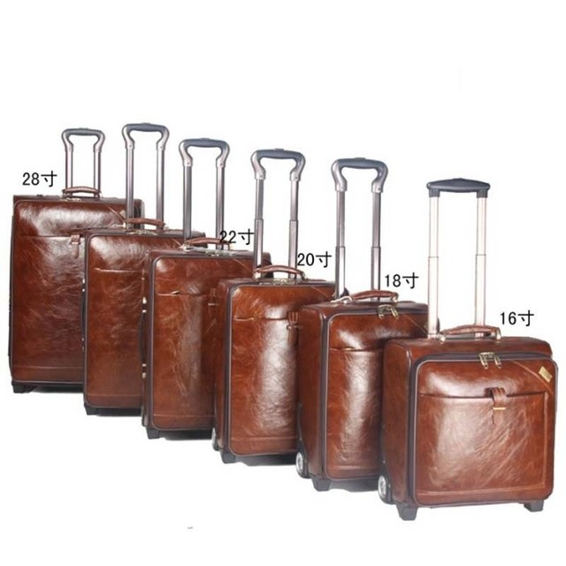 18 INCH Coffee Leather Trolley Luggage Business Trolley Case Men's Suitcase Travel Bag Free Shipping by EMS
