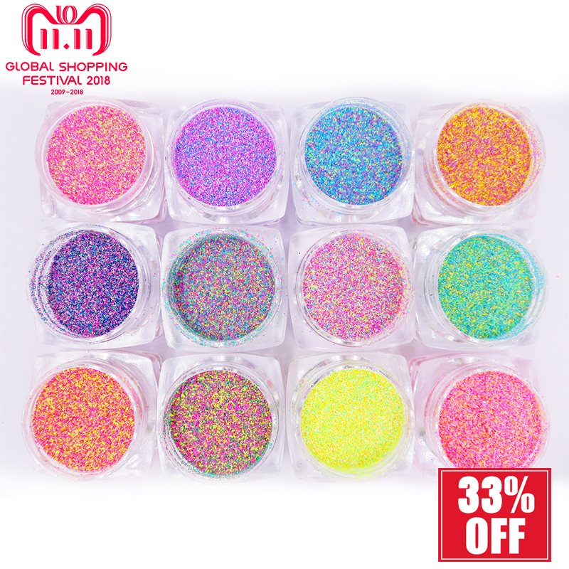 12Color Nail Glitter Sandy Sugar Nail Art Mixed Color Seaside Acrylic Powder Manicure Gel Glitter For Summer Nail Art Decoration mixed color chameleon stone nail rhinestone small irregular beads manicure 3d nail art decoration in wheel accessories