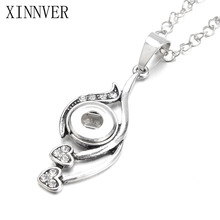 Xinnver Snap Button Jewelry Charms Round Necklace Fit 12MM Button Snap Custom Pendant Sweater Chain ZG129
