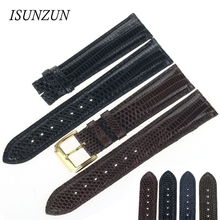 ISUNZUN Watch Bands For Emperor Camel/Movado/Patek/Philippe/Tudor/Glamour Top Quality watch strap Lizard Skin Leather недорого