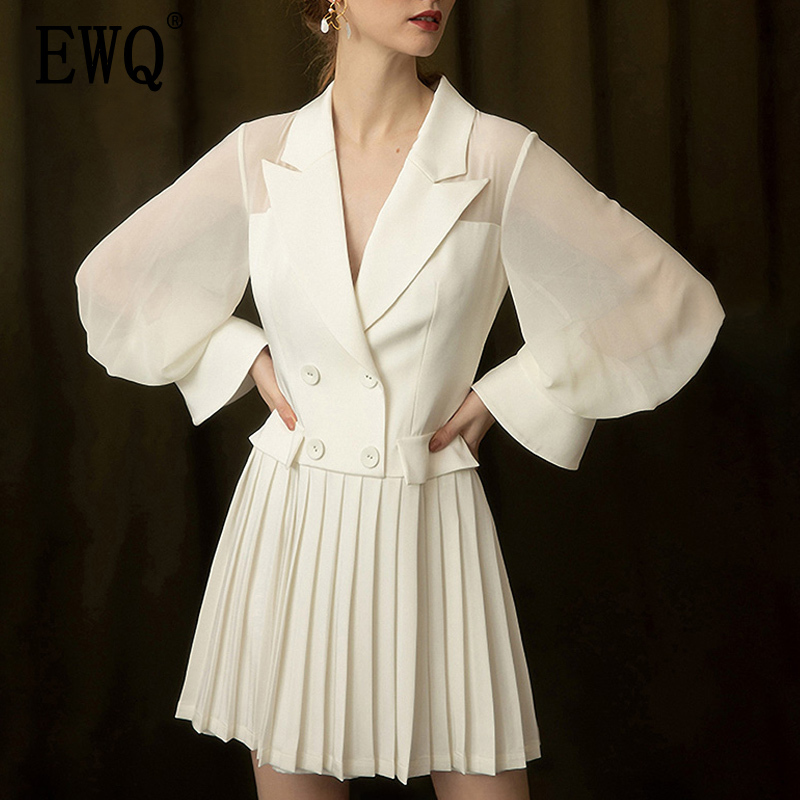 EWQ Temperament Slim Europe Women Dress Long Sleeve Solid Color Ladies Dress Spring New 2019