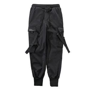Image 4 - Men Ribbons Color Block Black Pocket Cargo Pants 2019 Casual Fashion Harem Joggers Harajuku Sweatpant Hip Hop Trousers LA8P36