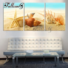 FULLCANG triptych 5d mosaic full embroidery beach shell seaweed diy 3pcs diamond painting cross stitch kit drill G1223
