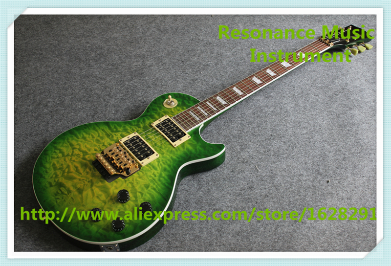 все цены на New Arrival China One Piece Mahogany Body and Neck LP Electric Guitar With Green Quilted Finish