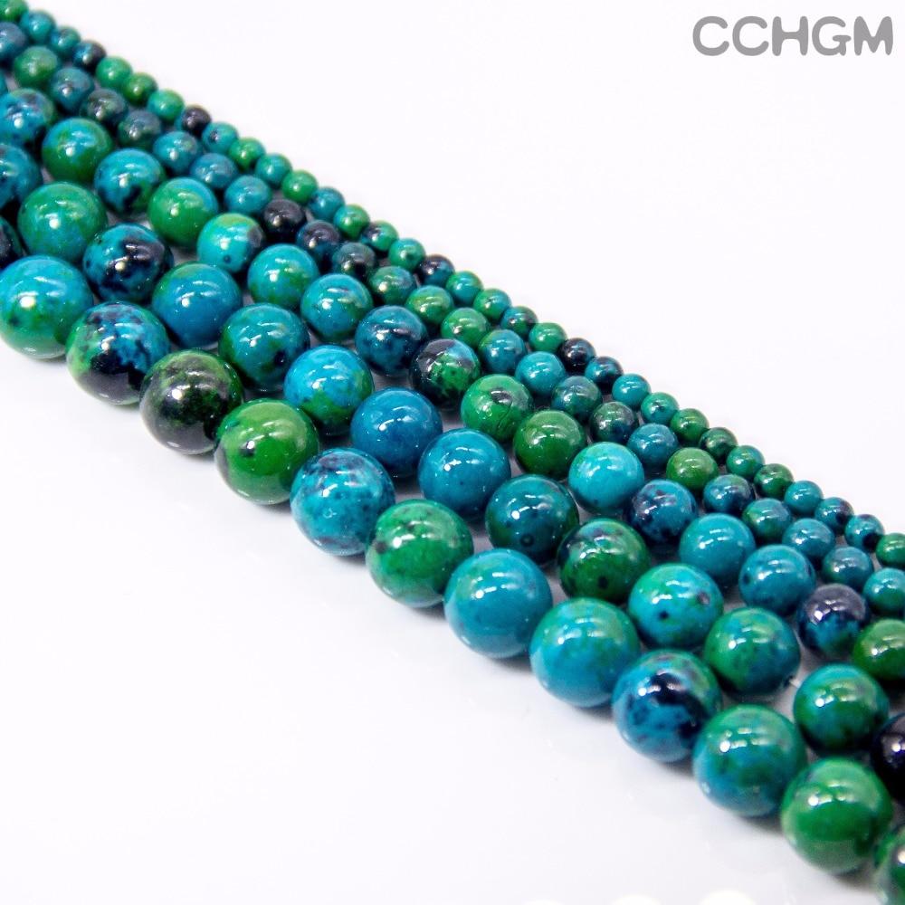 CCHGM varmt salg engros polerte naturlige Chrysocolla stein perler for smykker lage DIY armbånd halskjede 4/6/8/10/12 / 14mm