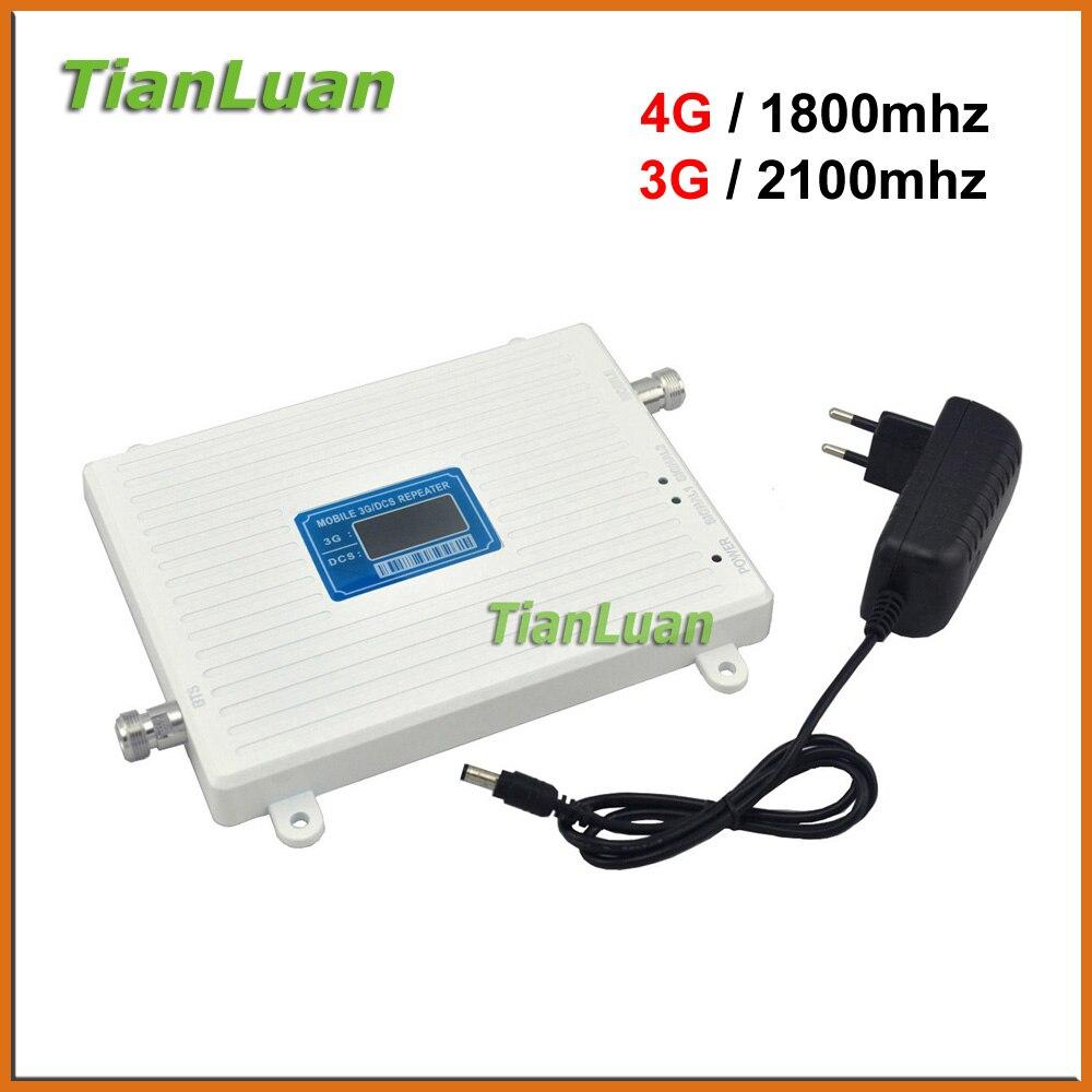 TianLuan señal de teléfono móvil de W-CDMA 3G 2100 MHz 4G LTE DCS 1800 MHz repetidor de señal de teléfono celular celular amplificador + Power